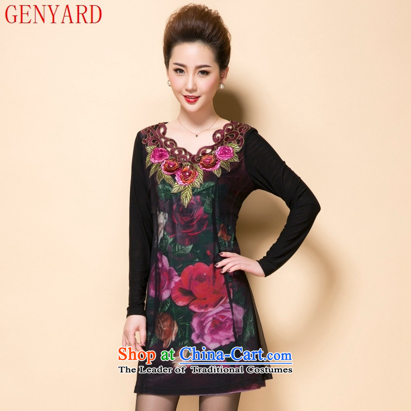 The fall of new, GENYARD2015 in older women's stylish and elegant decorated in three-dimensional embroidery mother dresses Large Black XL