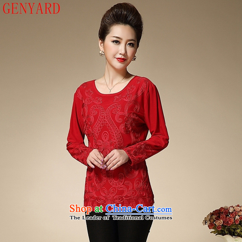 Genyard2015 winter clothing in the new add-older thick solid long-sleeved shirt female women mother Red?2XL