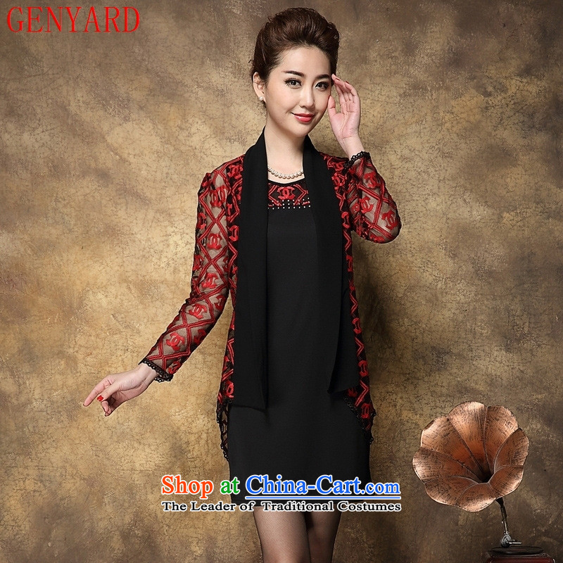 The fall of new, GENYARD2015 in older women's larger Korea long-sleeved Pullover MOM pack chiffon lace two kits dresses Red?2XL