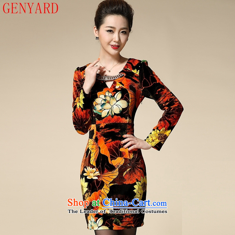 Load New GENYARD2015 autumn upscale Kim scouring pads for larger 40-50 in long-sleeved elderly mother replacing dresses Blue?M