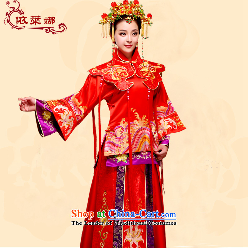 Autumn and winter stylish bride Chinese marriage Sau San dress red bows services retro qipao New Sau Wo 2015 Red XXL