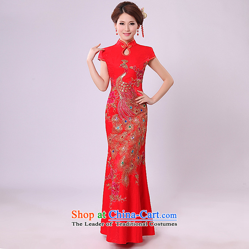 2015 New Long bows services qipao retro crowsfoot wedding dress red cheongsam dress red聽L