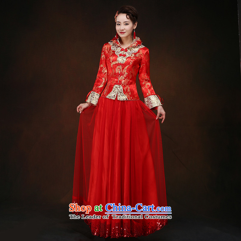 The new 2015 autumn and winter chinese red color bride wedding dress Sau Wo service long qipao bows large service long-sleeved燲L