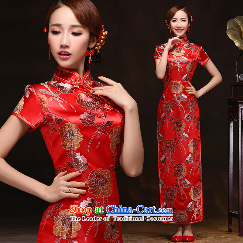 2015 New Chinese style wedding marriages bows service long thin dress etiquette video short-sleeved red qipao Chun Red?L