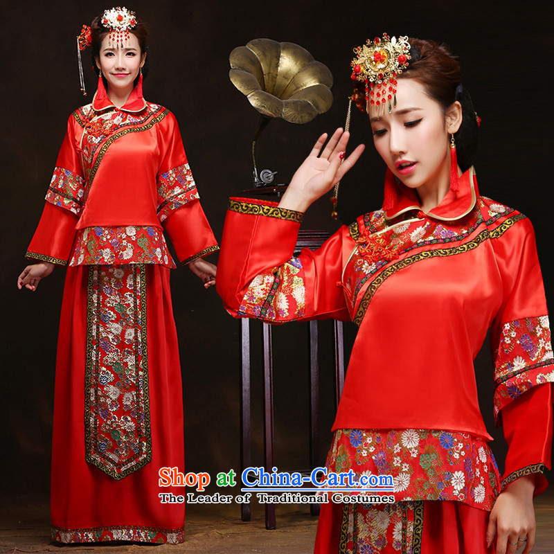 Sau Wo Service bridal dresses retro Chinese wedding gown in Chinese style wedding service bridal retro married bows cheongsam dress red?S