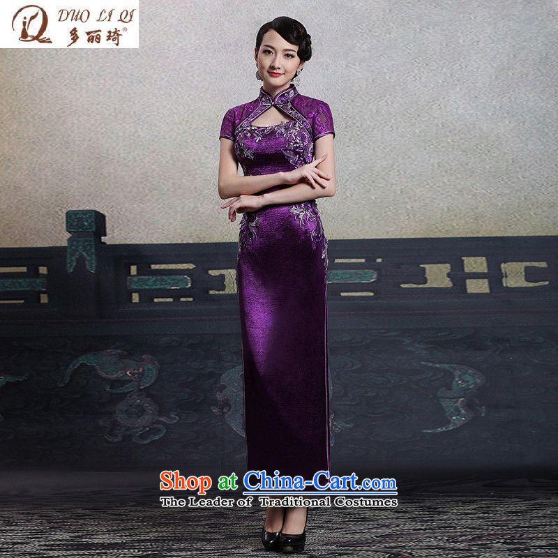 Doris Qi autumn_ Improved purple long qipao fashion show, replace 1025 purple?M Mom