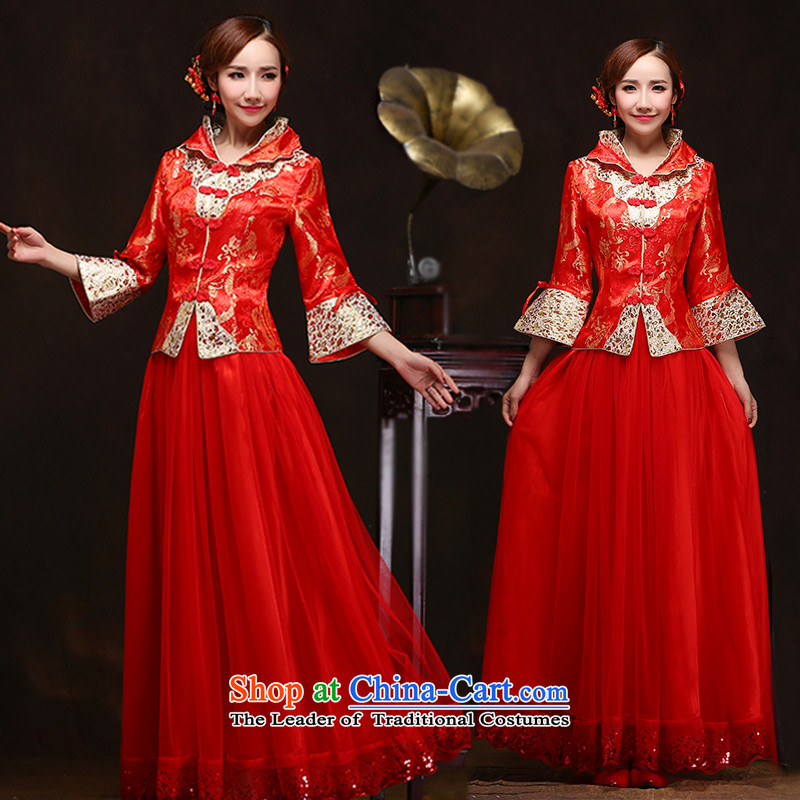 Chinese wedding dress 2015 new winter clothing 7 cuff marriage cheongsam red crowsfoot bride bows services 3 M Style Fashion