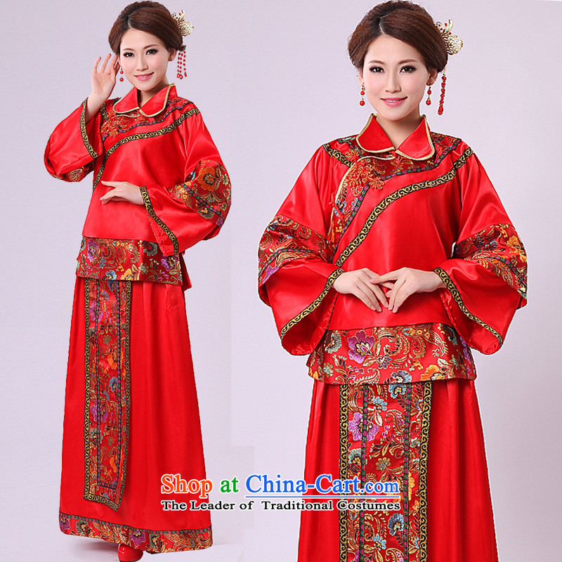 Sau Wo Service bridal dresses retro Chinese style wedding costume qipao bows services services use skirt-soo-Hi wo service wedding dress RED M