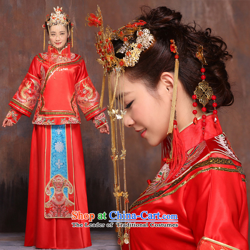 Upscale Chinese style wedding costume-soo-soo wo service wo service Tang Dynasty to the dragon use bride wedding dress pregnant women can be wearing a red�XL