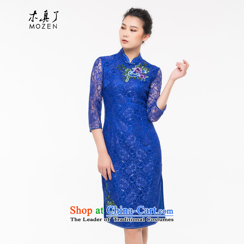 Wood, an improved really qipao skirt female 2015 Sau San autumn and winter new lace retro dress with 43189 mother 10 deep blue聽Xxl_a_