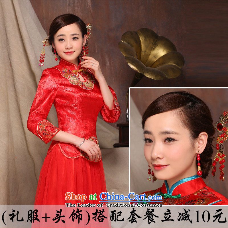 The new 2015 qipao Fall_Winter Collections bride bows to Chinese cheongsam wedding dresses retro long red Soo Wo Service dress + Head Ornaments?M
