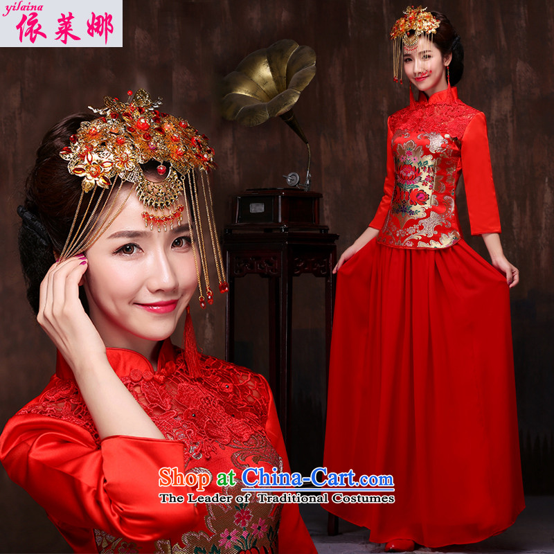 Sau Wo Service 2015 new long wedding dress red Chinese dragon and the use of modern bride services cheongsam dress suit Female bows + Head Ornaments�XL