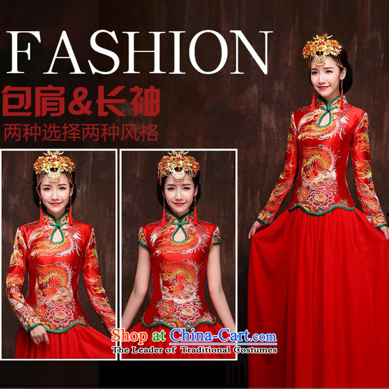 2015 new bride bows to the autumn and winter cheongsam Chinese long retro long qipao Sau San dress Soo-wo service long-sleeved female�M