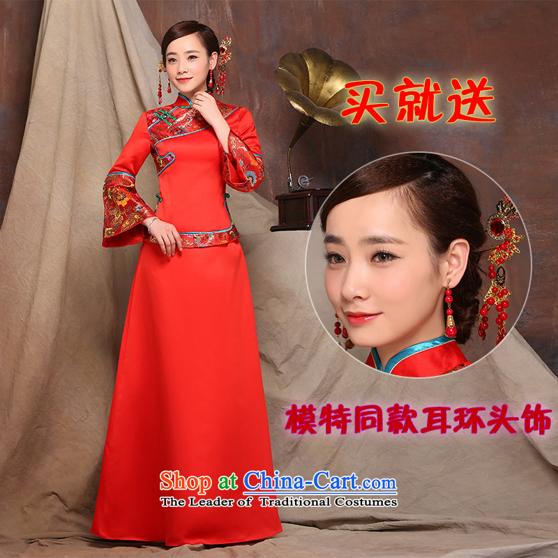 Sau Wo Service 2015 new wedding dress up of Chinese wedding services improved day-to-bride bows qipao gown + Winter Female Head Ornaments燤