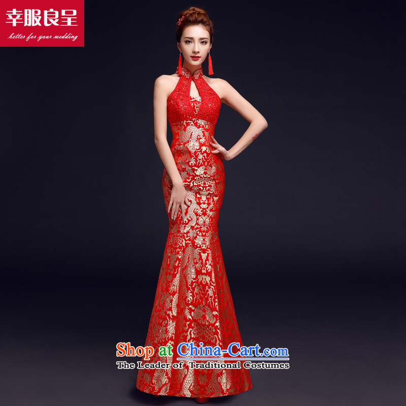 The privilege of serving-leung bows services 2015 new cheongsam red Chinese bride wedding dress wedding gown hanging also red petticoat crowsfoot XL
