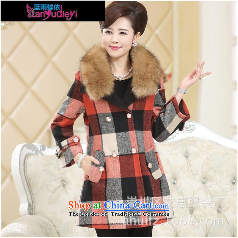 September Girl Store _ trappings of older women Fall_Winter Collections new tartan coats gross for large Lift-off MOM pack Yellow Tartan聽XL