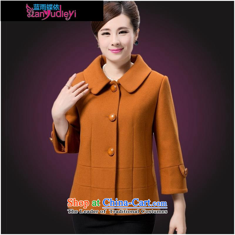 September Girl Store * 2015 autumn and winter clothing in older large mother woolen a wool coat female short, Single Row, Gold�3XL deduction Jacket