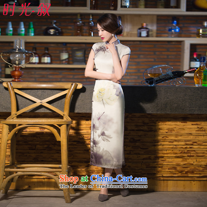 Time of Qipao Syrian 2015 new medium to long term improvement of Chinese Antique Sau San in summer and autumn image autumn load mother-�XL