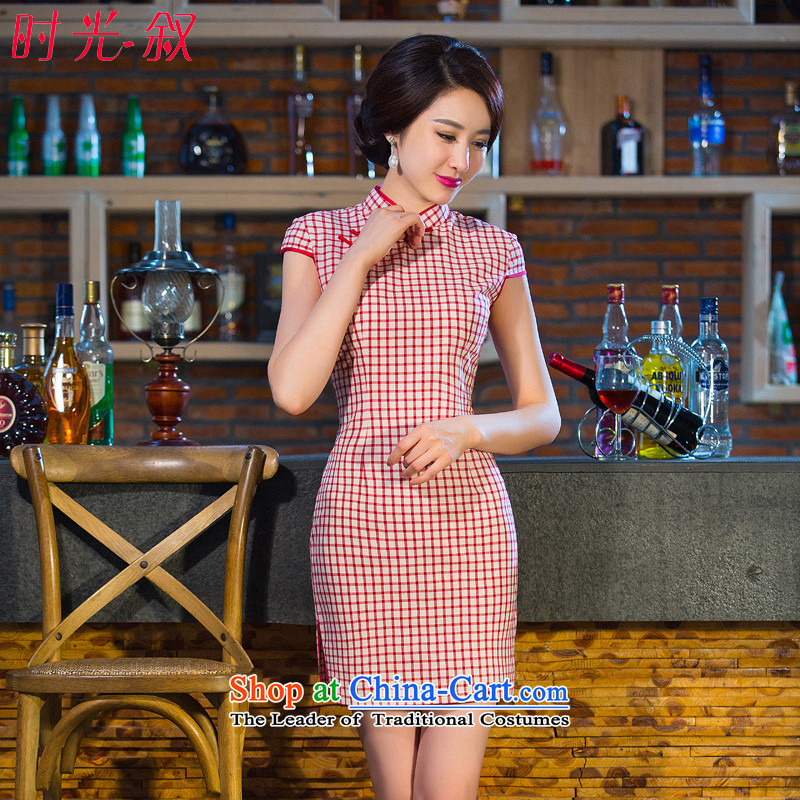 Time Syrian cheongsam dress 2015 new stylish art nouveau improved Ms. latticed cheongsam dress short of female qipao red�S