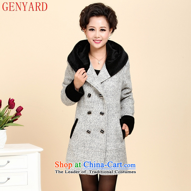 The new middle-aged clothing GENYARD windbreaker winter clothing loose large middle-aged female cashmere elegant gray燲XL
