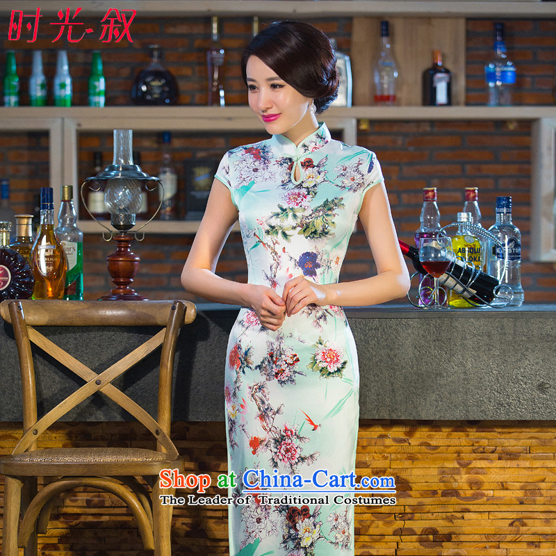 Syria retro Sau San spring and autumn time improved graphics and slender of daily cheongsam dress 2015 new large yard long cheongsam picture color XXL