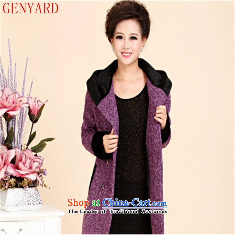 The new middle-aged clothing GENYARD windbreaker winter clothing loose large middle-aged female cashmere elegant gray燲L