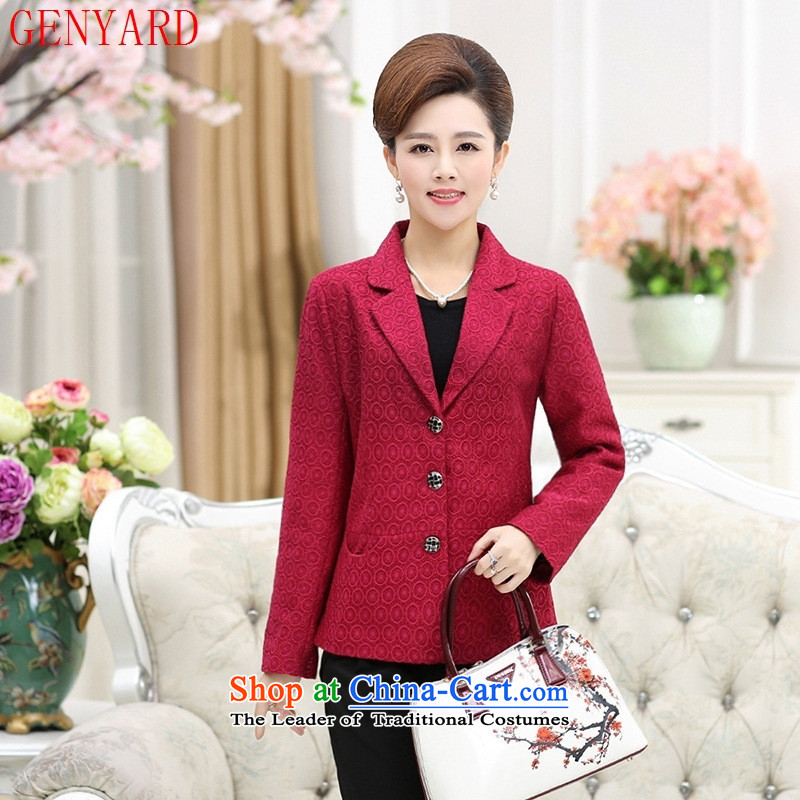 In the number of older women's GENYARD autumn replacing Korean Sau San, suits against long-sleeved blouse high-end small jacket mother red XXXL increase