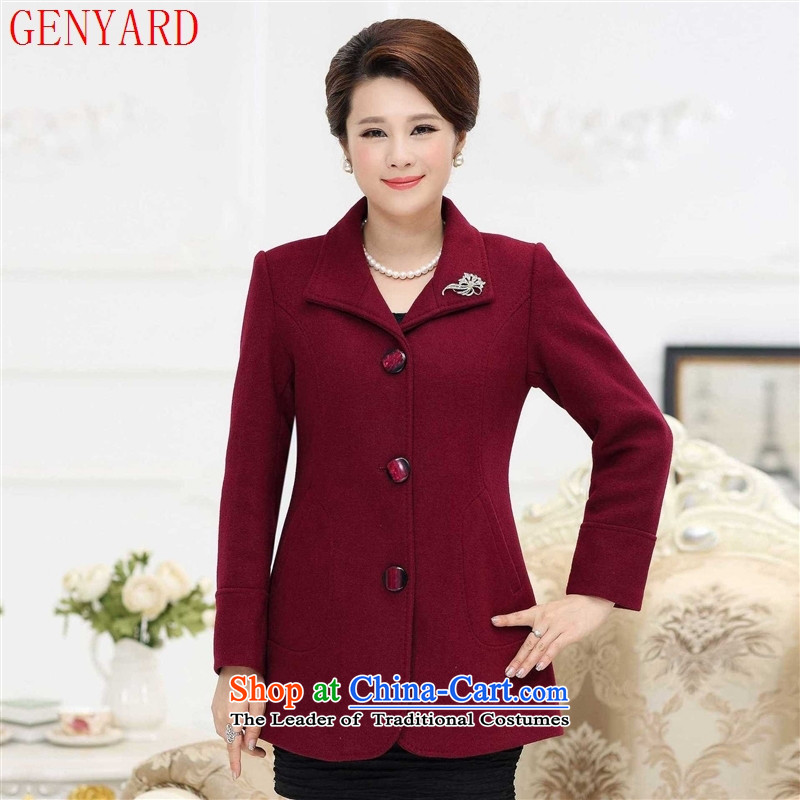 In the autumn of the elderly with GENYARD new women's gross? larger windbreaker MOM pack pure color woolen? Mango Wind Jacket?L 90 catty_ Recommendation