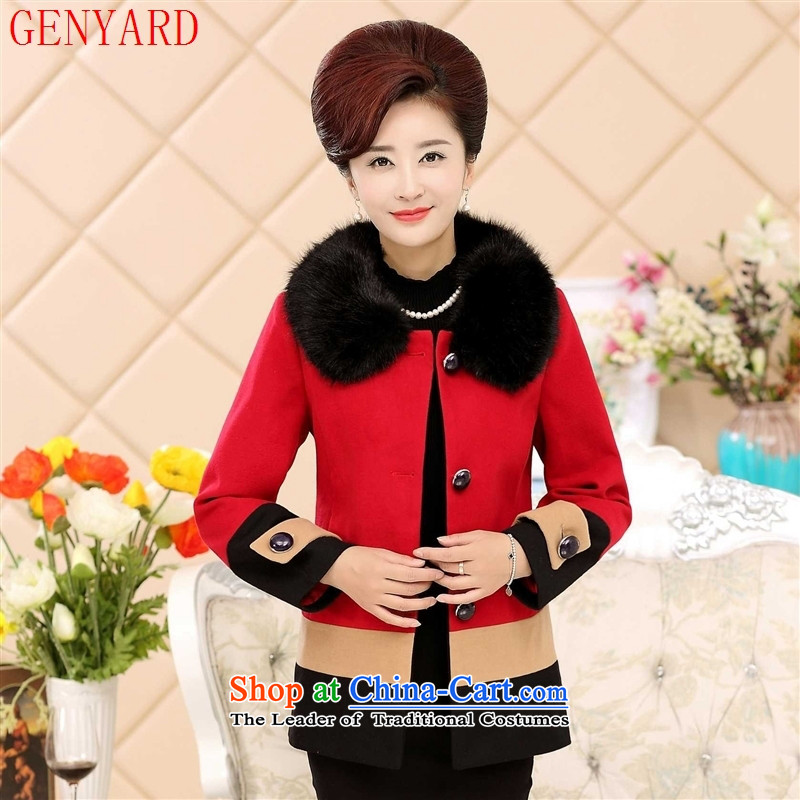 In the number of older women's GENYARD2015 fall short load mother stylish load, splice in older women jacket???XL( Peacock Blue T-shirt recommendations 90-110 catties)