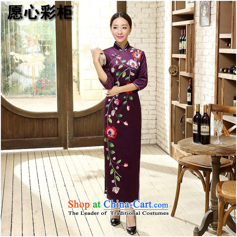 To heart in the cabinet also older Tang dynasty autumn and winter female new Chinese Tang dynasty China wind improved positioning poster Stretch Wool seven gold sleeve length cheongsam figure color燤