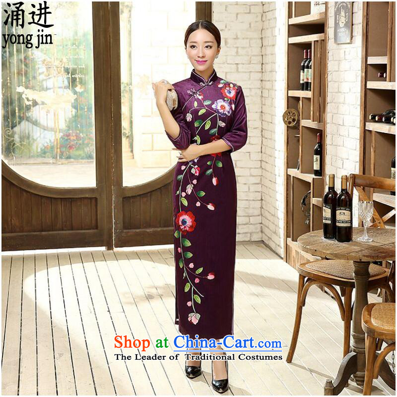 Ms. autumn and winter cheongsam Large Tang dynasty China wind wedding dress Figure聽2XL color