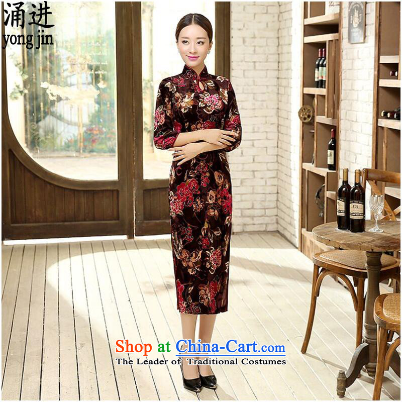 Ms. autumn and winter cheongsam Large Tang dynasty China wind wedding dress Figure Color?XL