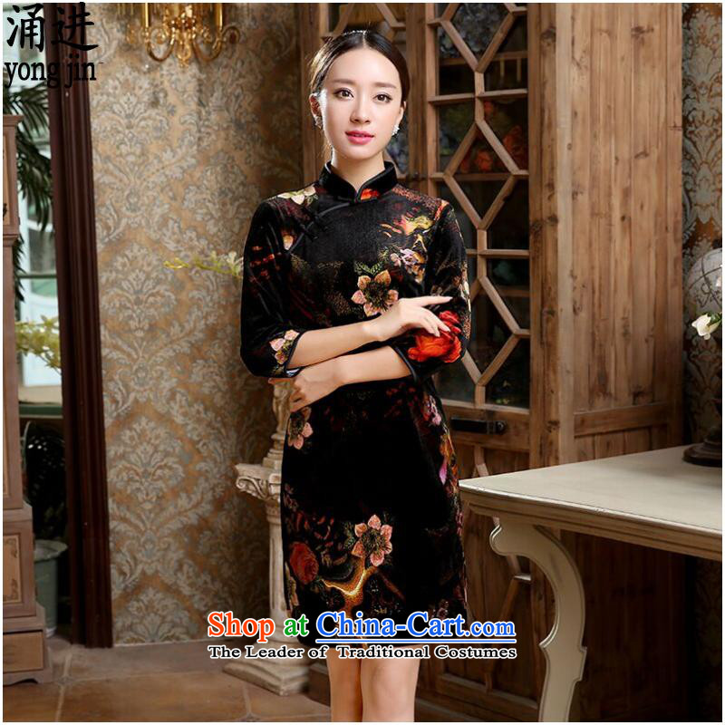 The autumn and winter, Tang dynasty qipao large China wind wedding dress figure color?L