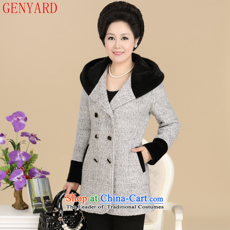 The elderly in the new GENYARD2015 MOM Pack Korean autumn stylish look for mom Gross Gross jacket elegant gray燲XXL?