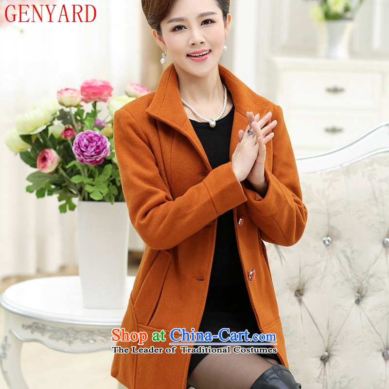 Replace the fall of middle-aged female GENYARD2015 jackets mother boxed autumn blouses of older persons in the autumn and winter woolen coats of a new warm orange燲XL