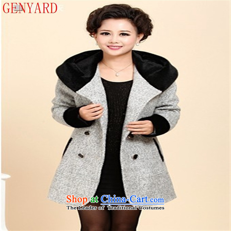 The new middle-aged clothing GENYARD2015 windbreaker winter clothing loose large middle-aged female cashmere elegant purple?4xl