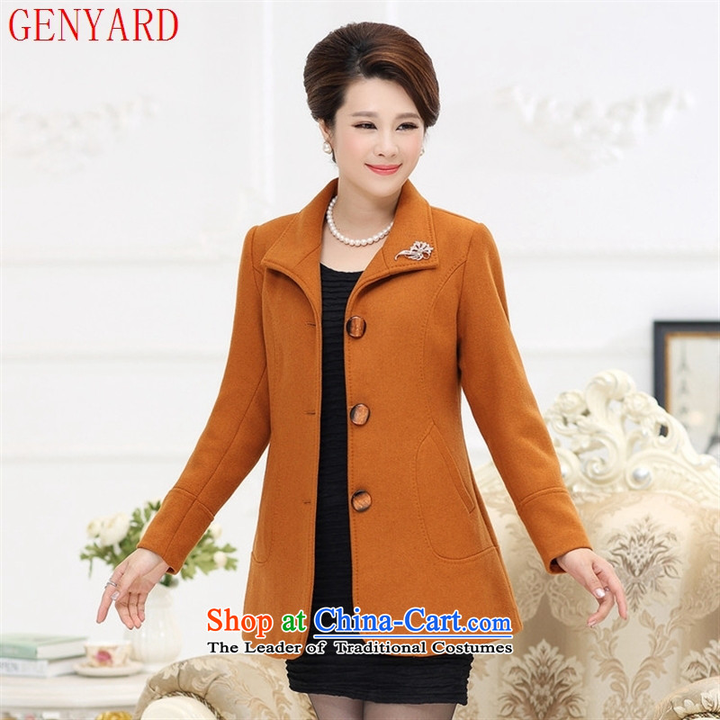 The new middle-aged autumn GENYARD2015 mother casual wool coat in a Older Women fall inside gross wine red jacket??L