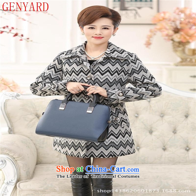 In the number of older women's GENYARD2015 gross winter coats? the new boxed Korean mother a wool coat lapel of long-sleeved sweater card their streaks燲XXL