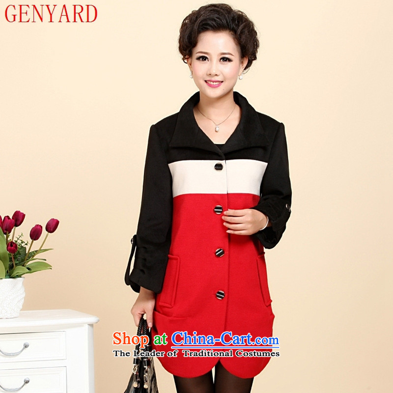 In the spring of the new GENYARD2015 Older Women's cashmere overcoat spring loaded mother Lady black and red jacket?4xl