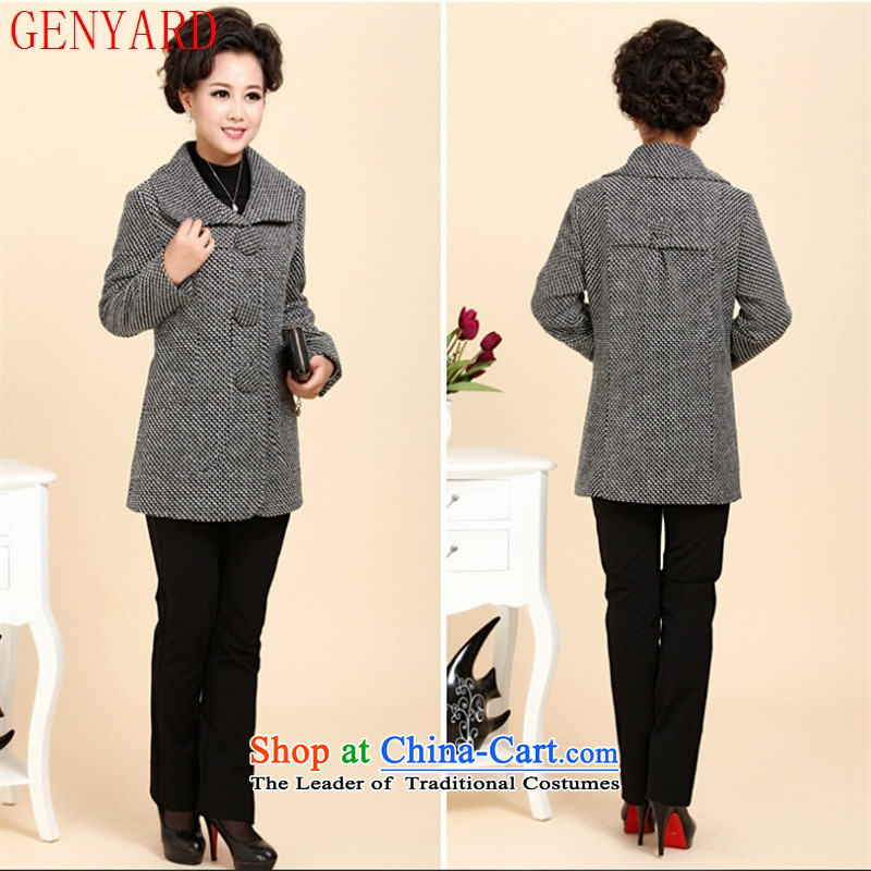 The elderly in the large GENYARD2015 female Chuseok winter jackets and stylish with long coats of mother wool coat carbon燲XL?