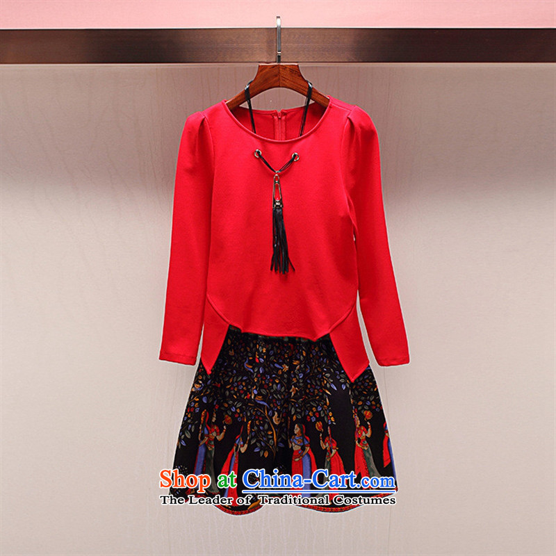 The Black Butterfly A5969 autumn load sense of two kits round-neck collar with necklaces irregular shirt + national stamp short skirt RED?M