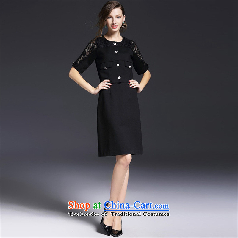 The Black Butterfly A5907 European site new) Autumn 2015 engraving lace cuff buttoned, single-+ pure color dresses two kits wine red?M