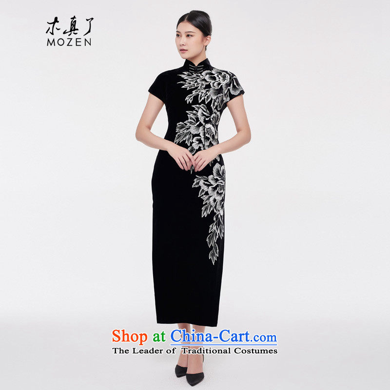 Wood, an improved retro qipao really female 2015 autumn and winter new Tang Long_ scouring pads cheongsam dress MOM pack - 1 black?Xxl_a_ 0836