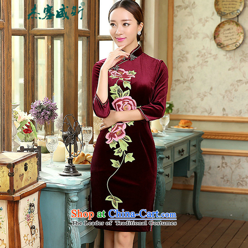 In the new kit, spring and autumn female elegant superior scouring pads in the Sau San really Chinese cheongsam dress cuff female wine red?M