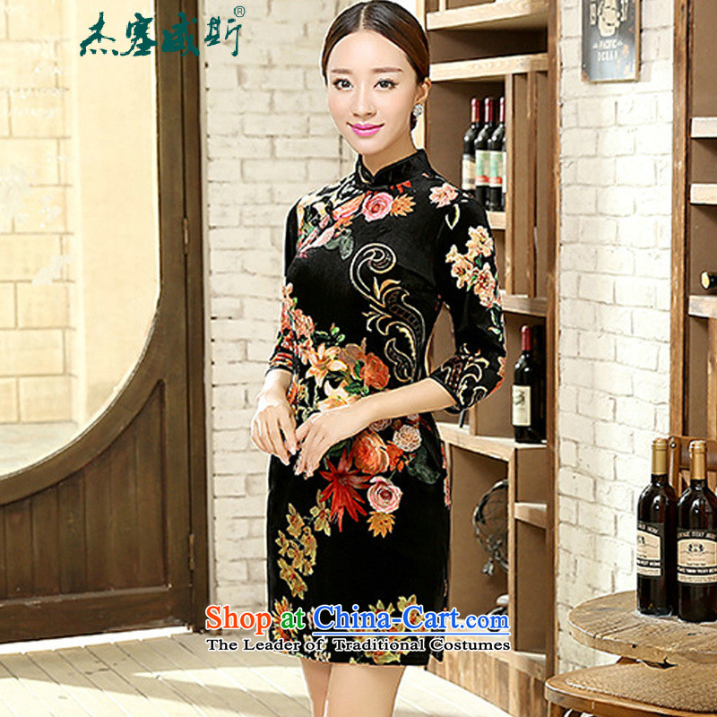 In the new kit, spring and autumn female elegant Wah Kwai Sau San really scouring pads in Chinese cheongsam dress cuff female figure聽L