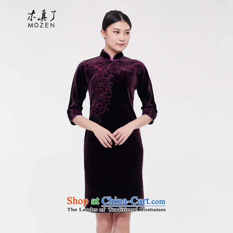 The seven wooden really cuff mother large load stretch of nostalgia for the improvement of qipao skirt female 2015 Winter New Tang dynasty 0821 16 purple?M