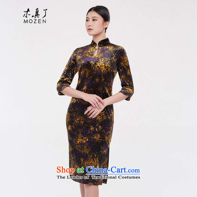 Wood, an improved cheongsam women really 2015 autumn and winter new Tang long skirt mother, Retro cheongsam dress 43070 01 black燲xl_b_