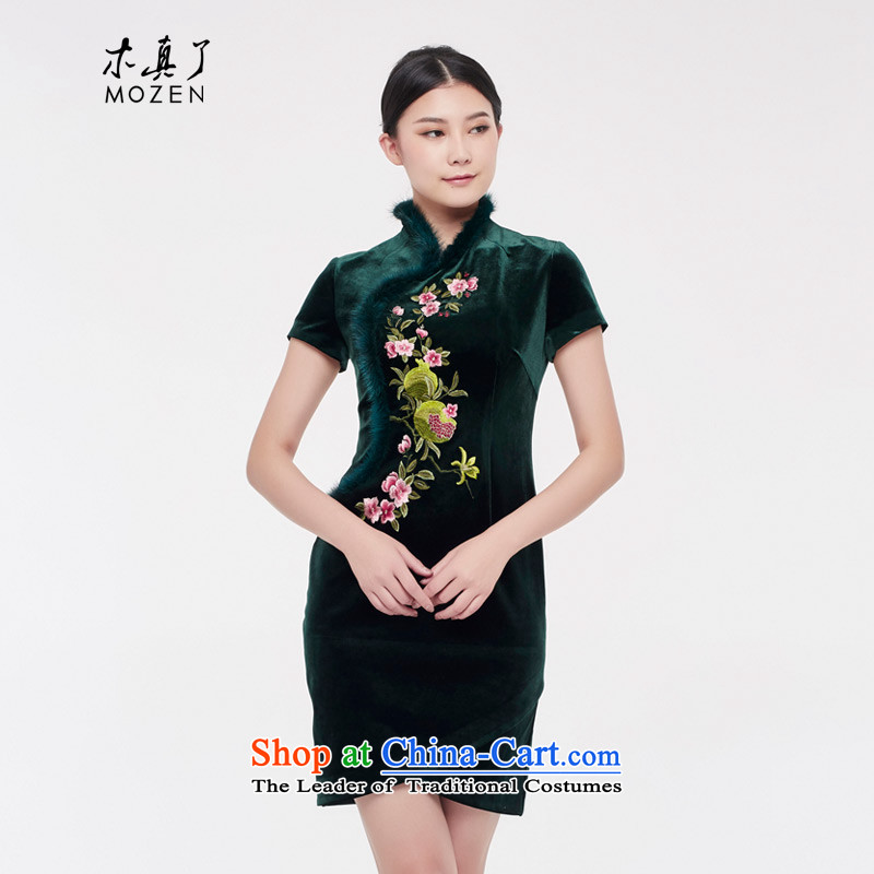 Wood, an improved retro qipao really skirt the new 2015 Fall_Winter Collections banquet dress of ethnic women 43253 14 deep green燲L