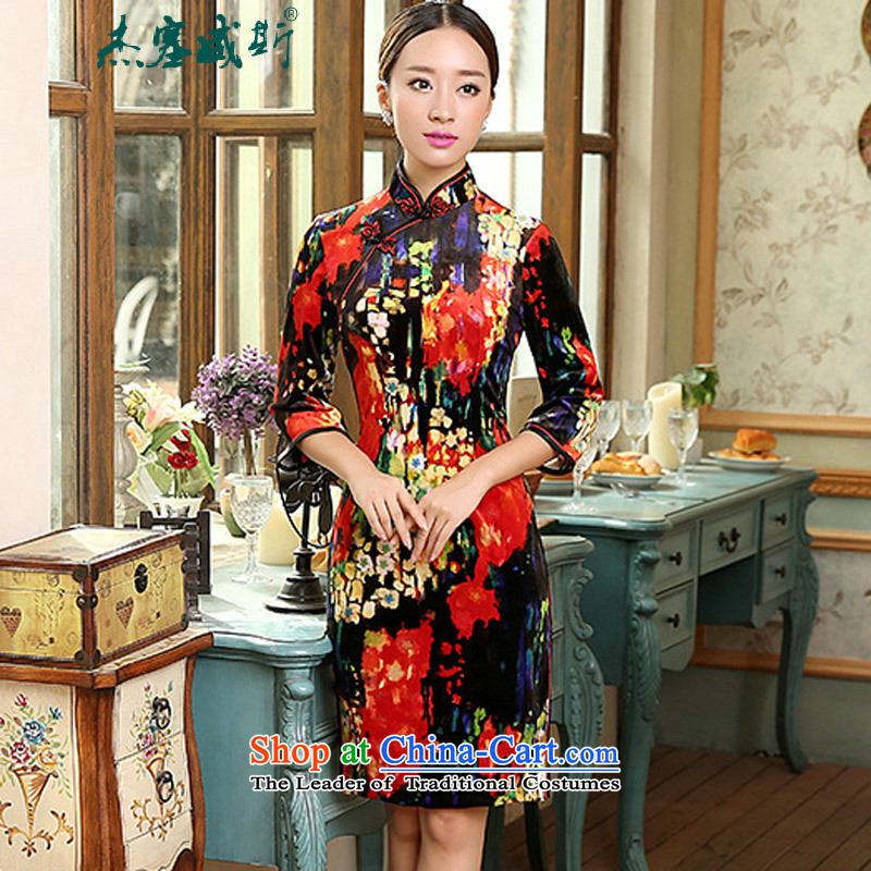 In the spring and autumn Jie, who really plush decor female Chinese collar manually. cuffs cheongsam dress female figure燤