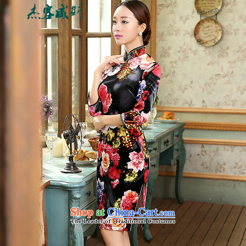 In the spring and autumn jie female guests will find all of the Sau San really scouring pads Mock-neck manually in Chinese qipao deduction cuff dresses female figure聽XXXL